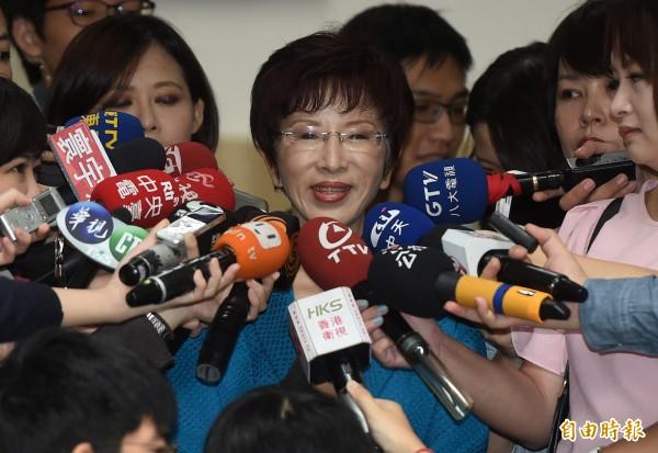 立法院副長洪秀柱上午出席院會,進入議場前接受媒體訪問。(記者簡榮豐攝)