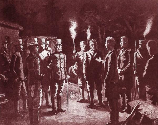 畫家小早川篤四郎於1935年所繪巴克禮博士一行人與日軍第二師團長乃木希典交涉情境。(翻攝自《為愛航向福爾摩沙——巴克禮博士傳》)
