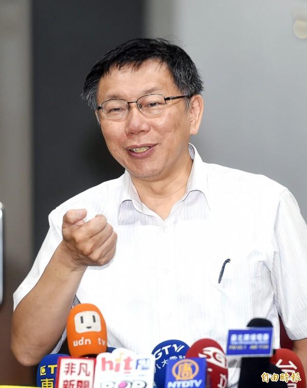 台北市長柯文哲表示,台北市如果這些房子大量做都更時候,對台灣經濟發展也有一定效果。(資料照,記者方賓照攝)
