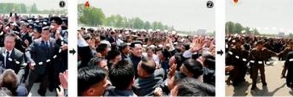 北韓最高領導人金正恩遭民眾亂摸。(圖取自《朝鮮日報》)
