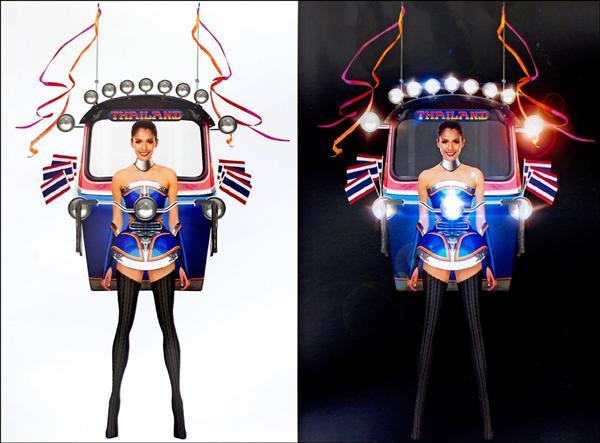 泰國小姐安妮波恩,將在環球小姐選美比賽的民族服裝秀項目穿上代表泰國的嘟嘟車裝。(美聯社)