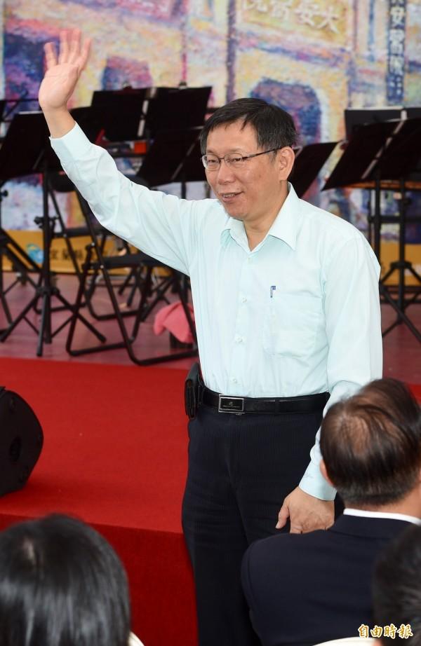 台北市長柯文哲昨日行程滿滿,上午出席蔣渭水紀念活動記者會。(資料照,記者羅沛德攝)