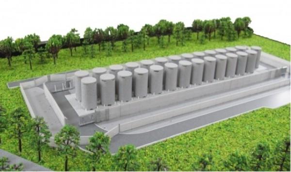 預計兩年後啟用的核二廠乾式貯存場,依日本標準只能防鏽9.6年,依美國標準更是只有1.2年。圖為核二乾貯設施竣工模型。(圖由原能會提供)