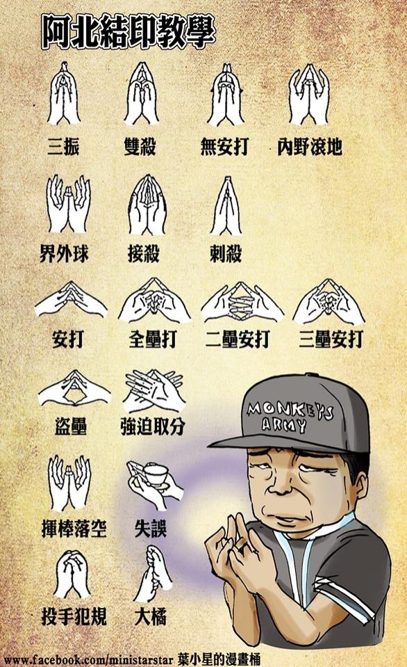 「葉小星的漫畫桶」發表了1張圖片,說明職棒阿伯結合佛教手印中的十八契印,創意笑翻不少網友。 (圖擷自葉小星的漫畫桶臉書)