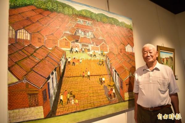 寬162公分、高130公分的「台南楠西江家古厝四進三落十三護龍」油畫,是尤辰允上千幅畫作中最大的一幅作品。(記者蘇福男攝)