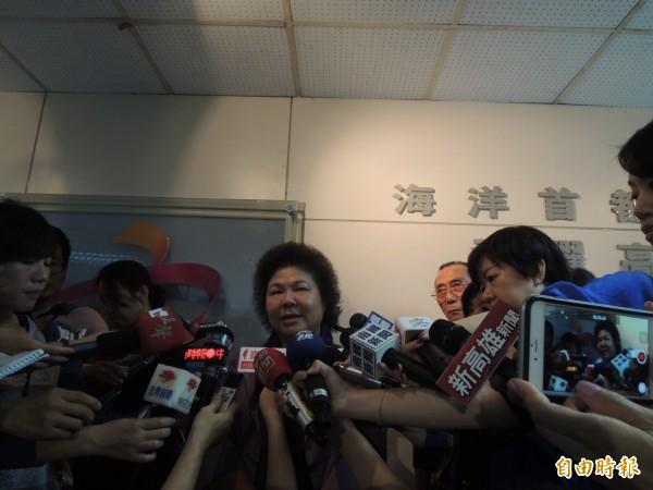 陳菊痛批馬英九已經完全失去民意支持,不能代表台灣民意。(記者洪定宏攝)