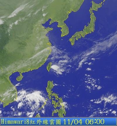 中央氣象局表示,今天東北風開始減弱,溫度回升。(圖片取自氣象局)
