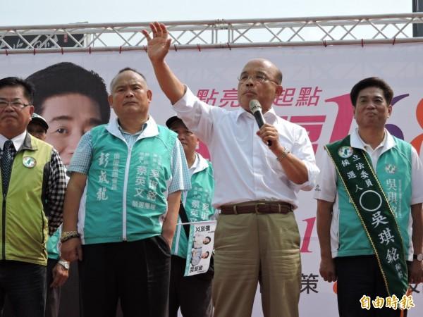 蘇貞昌早上公開呼籲馬英九當著習近平的面,大聲說出「中華民國」、「自己就是中華民國的總統」。(記者何玉華攝)