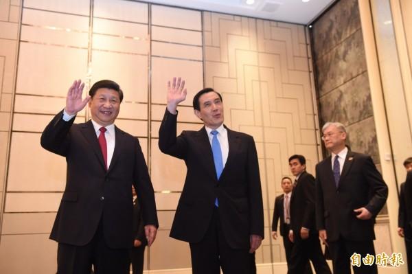 歷史性的「馬習會」,馬英九總統今天與中國國家主席習近平在新加坡香格里拉飯店會面。(記者劉信德攝)