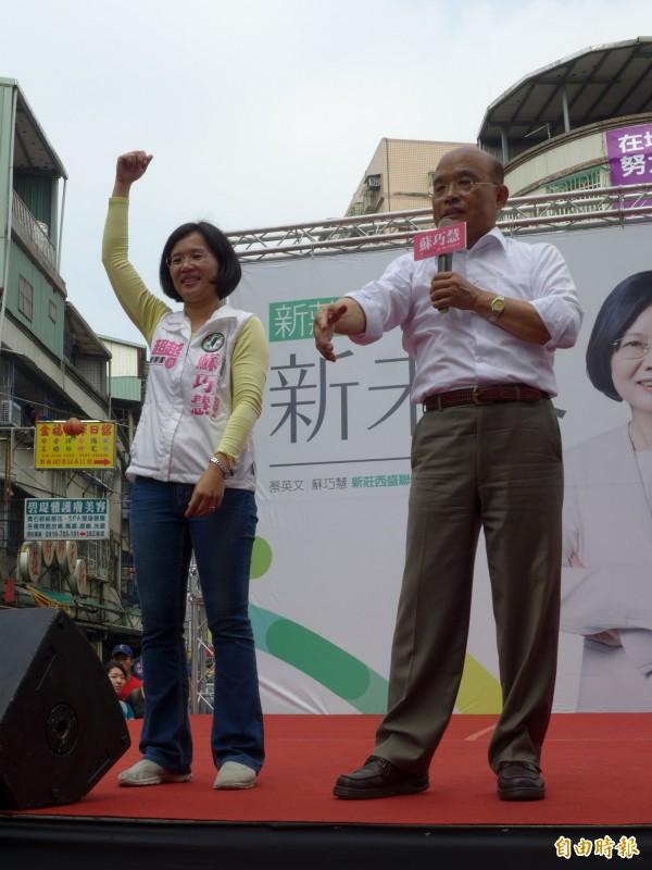 前行政院長蘇貞昌為馬英九打分數,直言嚴重地不及格,而且是失格。(記者李雅雯攝)