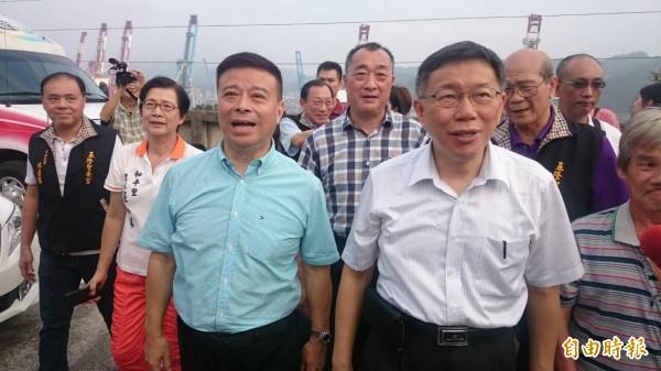 台北市長柯文哲到基隆參訪,並提及對於馬習會的看法。(記者俞肇福攝)