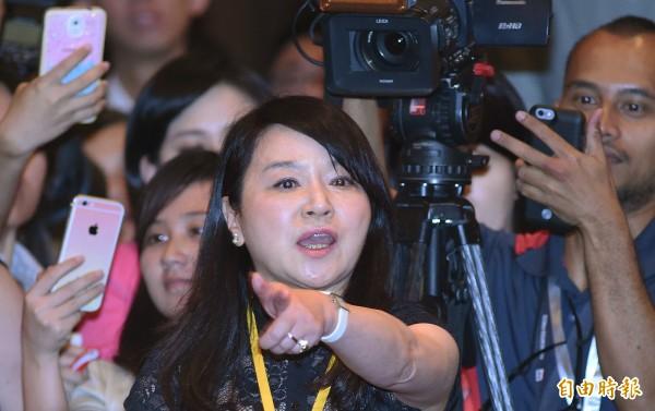 總統馬英九7日在新加坡香格里拉飯店與中國大陸領導人習近平會面。雙方領導人對談後,馬總統召開記者會說明,名嘴周玉蔻(見圖)在會中一再強勢要求提問。(資料照,記者廖振輝攝)