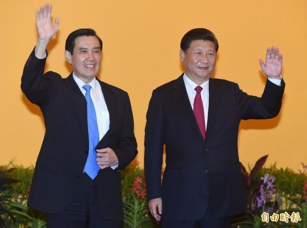 有香港媒體揭露,「馬習會」現場立起的黃色背景板,可能寓意著「兩岸一家親,同是炎黃子孫」的涵義。(資料照,記者廖振輝攝)