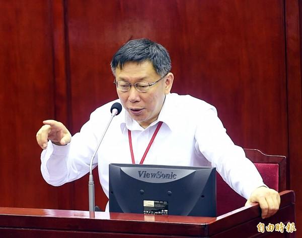 台北市柯文哲說,他不曉得馬英九總統那個「一個中國原則」是脫稿,還是幕僚寫這麼爛,不應該有這種。(資料照,記者方賓照攝)