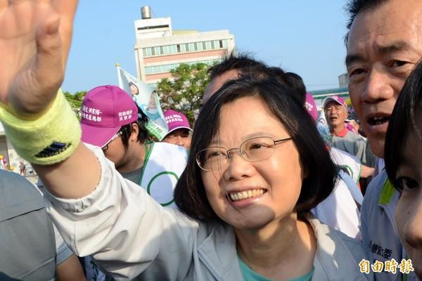 馬習會後,民進黨總統參選人蔡英文支持度上升至48.6%。(資料照,記者顏宏駿攝)
