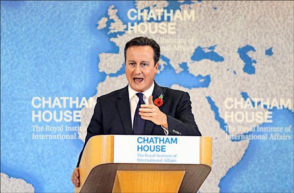 英國首相卡麥隆十日在倫敦發表重要演說,公布他對歐盟的四大要求。(法新社)