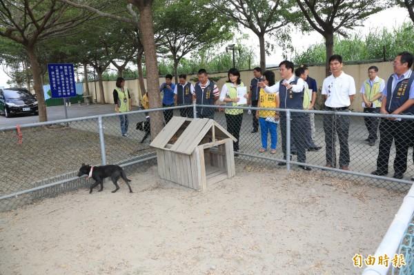 市長林佳龍視察動物之家后里園區,了解流浪犬收容情況。(記者歐素美攝)