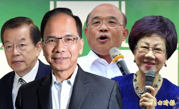 民進黨不分區立委名單,四大天王呂秀蓮、蘇貞昌、游錫堃、謝長廷均未入列。(本報合成)
