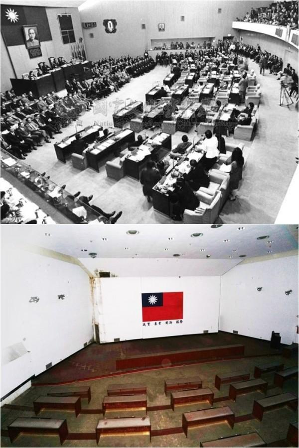 台北市議會當年開議時,議場內盛況非凡(上圖),但如今卻是一片殘破景象(下圖)。(圖:洪致文提供)