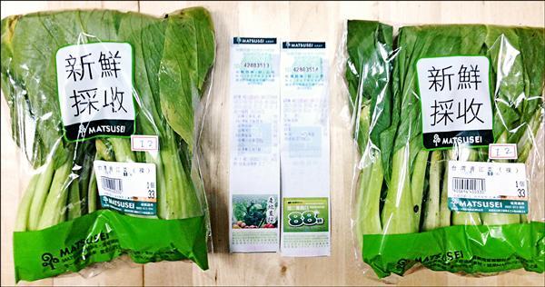 松青超市的青江菜被驗出劇毒農藥納乃得和歐殺滅。(綠色和平提供)
