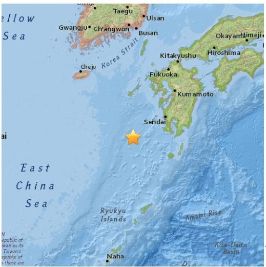 美國地質調查所(USGS)表示,日本西南部海域今天當地時間清晨5點51分發生規模7.0強震。(圖取自USGS)