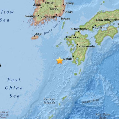 震央位於鹿兒島西方151公里處。(圖擷取自USGS)