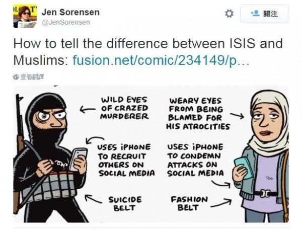 美國知名漫畫家索倫森為無辜的穆斯林平反。