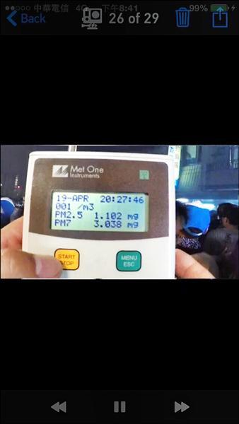雲林縣環保局人員以簡易式PM2.5量測儀,監測廟會燃放鞭炮時PM2.5濃度,瞬間高達1000微克。(記者黃淑莉翻攝)