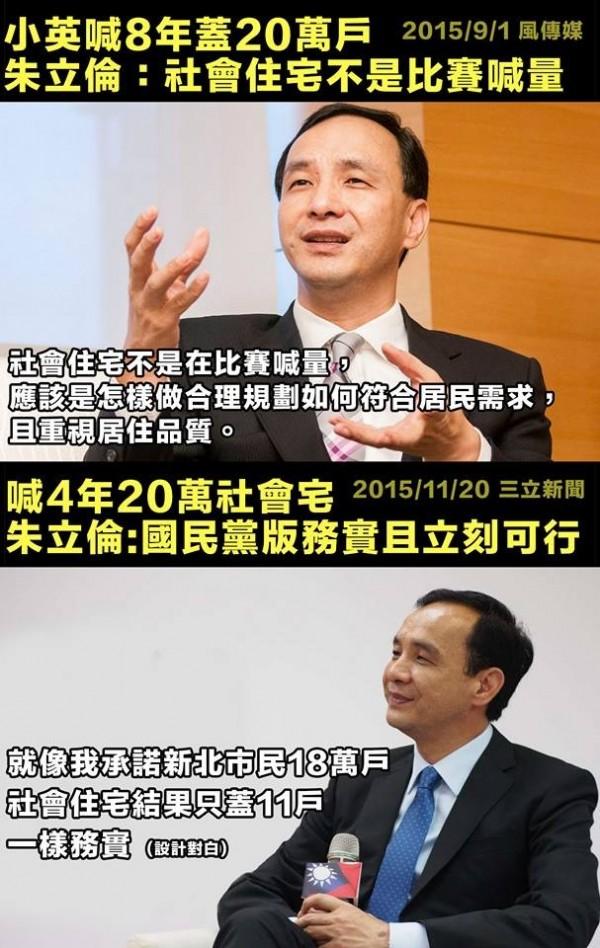 台灣賦格PO出此圖,諷刺朱立倫的公共住宅政策。(擷取自台灣賦格)