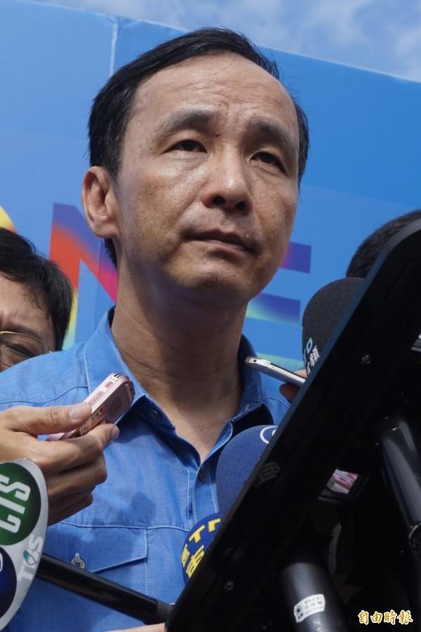 (記者張安蕎攝) 國民黨主席朱立倫今天表示,他不曉得洪秀柱會不會來下午的黨慶大會。