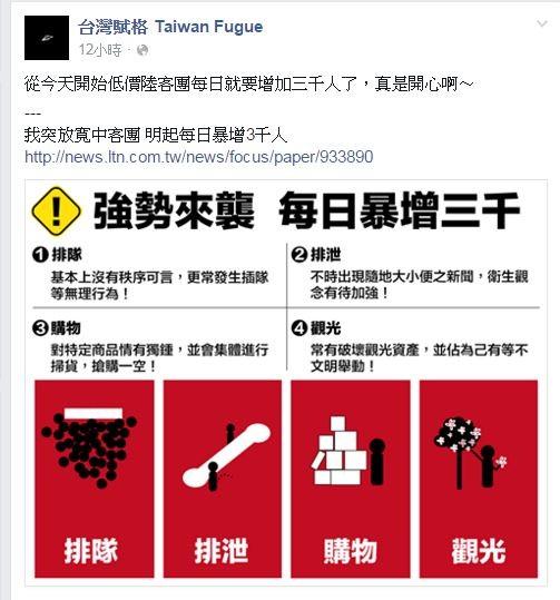 台灣賦格畫完中客4大行為後,諷刺「從今天開始低價陸客團每日就要增加三千人了,真是開心啊~」(圖擷自「台灣賦格 Taiwan Fugue」臉書)