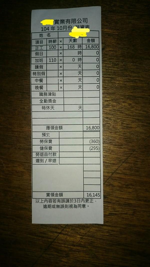 有網友在PTT貼出一張自己身障弟弟的薪資單,沒想到薪資單上顯示時薪僅有1百,且聲稱自己弟弟更被工廠惡意解雇。(圖擷自PTT八卦板)