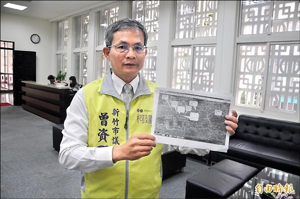 新竹縣政府規劃在新竹市千甲地區設置污水處理場,新竹市議員曾資程昨天在市議會痛批新竹縣吃人夠夠。(記者傅潮標攝)