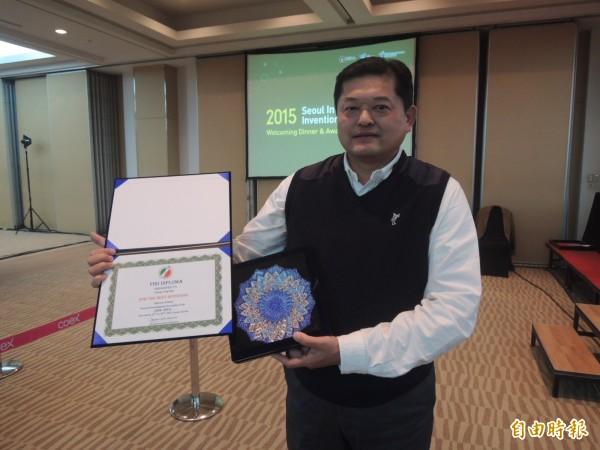 志拓公司研發「具有強固結構之活動板手」獲得特別獎。(記者湯佳玲攝)