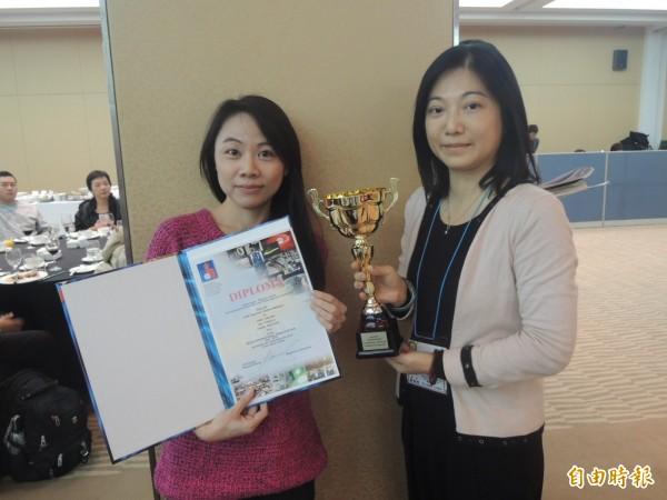 健茂生物科技股份有限公司的「新力活力多酚沖泡茶飲」獲特別獎。(記者湯佳玲攝)