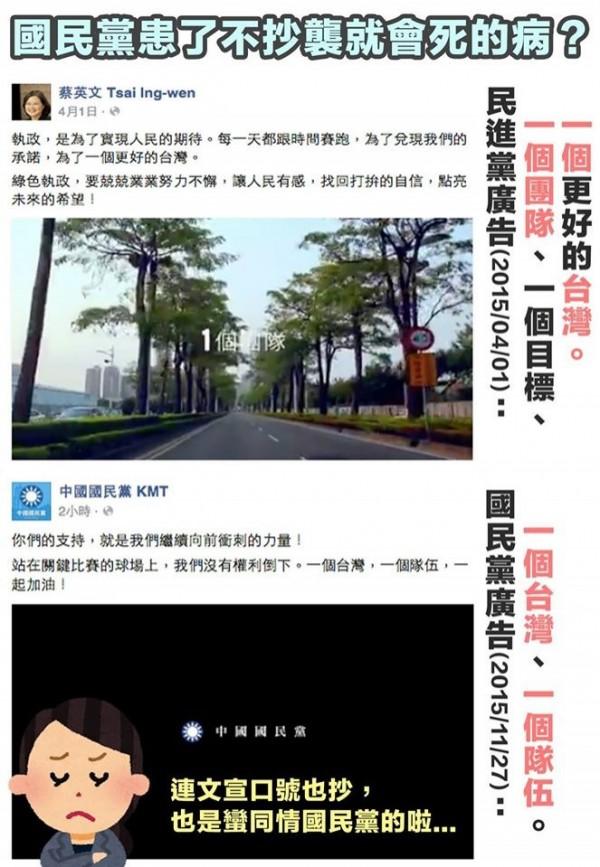 《台灣賦格》認為國民黨抄襲民進黨口號,質疑國民黨是否染上不抄襲就會死的病。(圖擷取自台灣賦格)