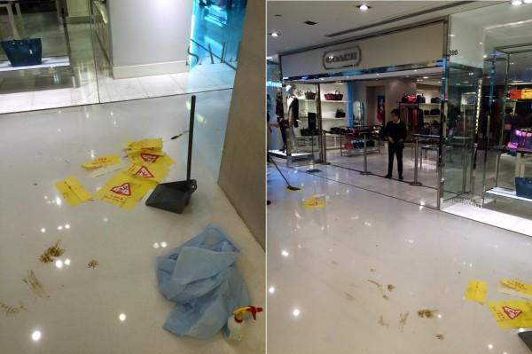 香港沙田新城市廣場的名牌店Coach昨天發生店門口「滿地黃金」。(圖擷自「沙田區 Sha Tin District」臉書)