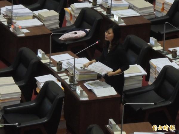 高市議員陳麗娜建議中區焚化爐提前退場。(記者王榮祥攝)