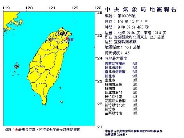 地震報告(中央氣象局提供)