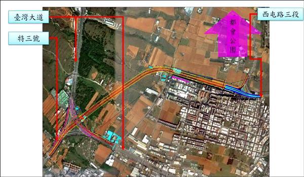 中科西南向聯外道路路線圖。(建設局提供)