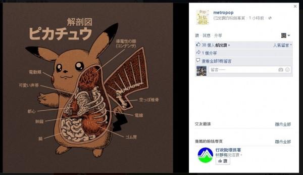 香港媒體metropop的臉書分享美國藝術家繪製的《神奇寶貝》皮卡丘解剖圖,除內臟骨骼外,更暗藏「導電腺體」、「電動頰」等說明,十分有趣。(擷取自metropop臉書)