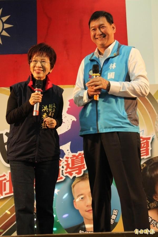 洪秀柱幫林國春站台,並致詞提到:「雖然國民黨有點討厭,可是還是要支持它。」(記者郭顏慧攝)