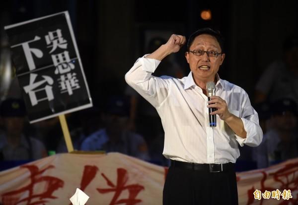 姚立明今上午為綠黨社民黨台北市第六選區(大安)立委候選人范雲站台,並指大安區已經沒有藍大於綠。(資料照,記者簡榮豐攝)
