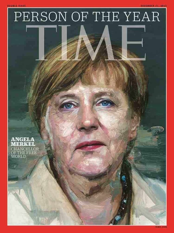 德國總理梅克爾解決歐債危機,又接納大量難民,獲選為美國時代雜誌(Time)年度風雲人物。(擷取自時代雜誌)