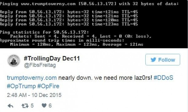 昨日「匿名者」一度將川普的官網癱瘓。(圖片擷取自推特)