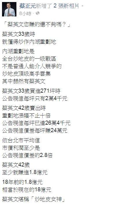 蔡正元在臉書質疑蔡英文炒地皮。(圖片擷取自臉書)