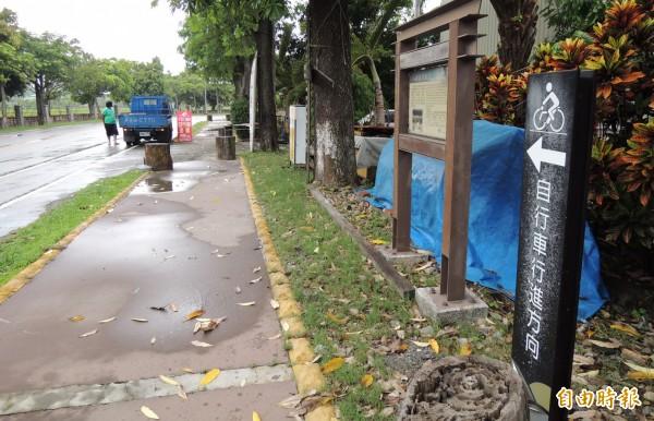 台南山海圳綠道起點在烏山頭水庫。(記者楊金城攝)