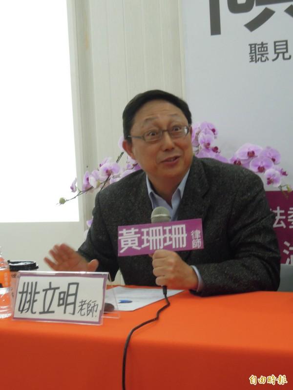 台北市長柯文哲去年競選時的操盤手姚立明認為,港湖選民的藍大於綠結構已瓦解。(記者梁珮綺攝)