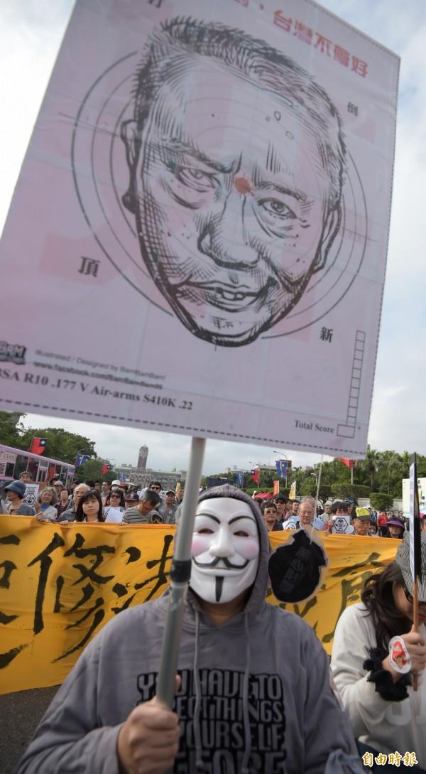 上千位民眾12日參加捍衛食安大遊行。(記者王敏為攝)