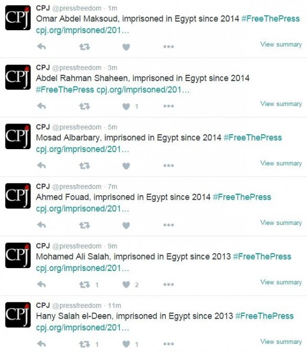 CPJ在網站上也針對遭到囚禁的記者,逐一進行介紹,並於推特上另製超連結,方便網友查閱。(圖擷自twitter)